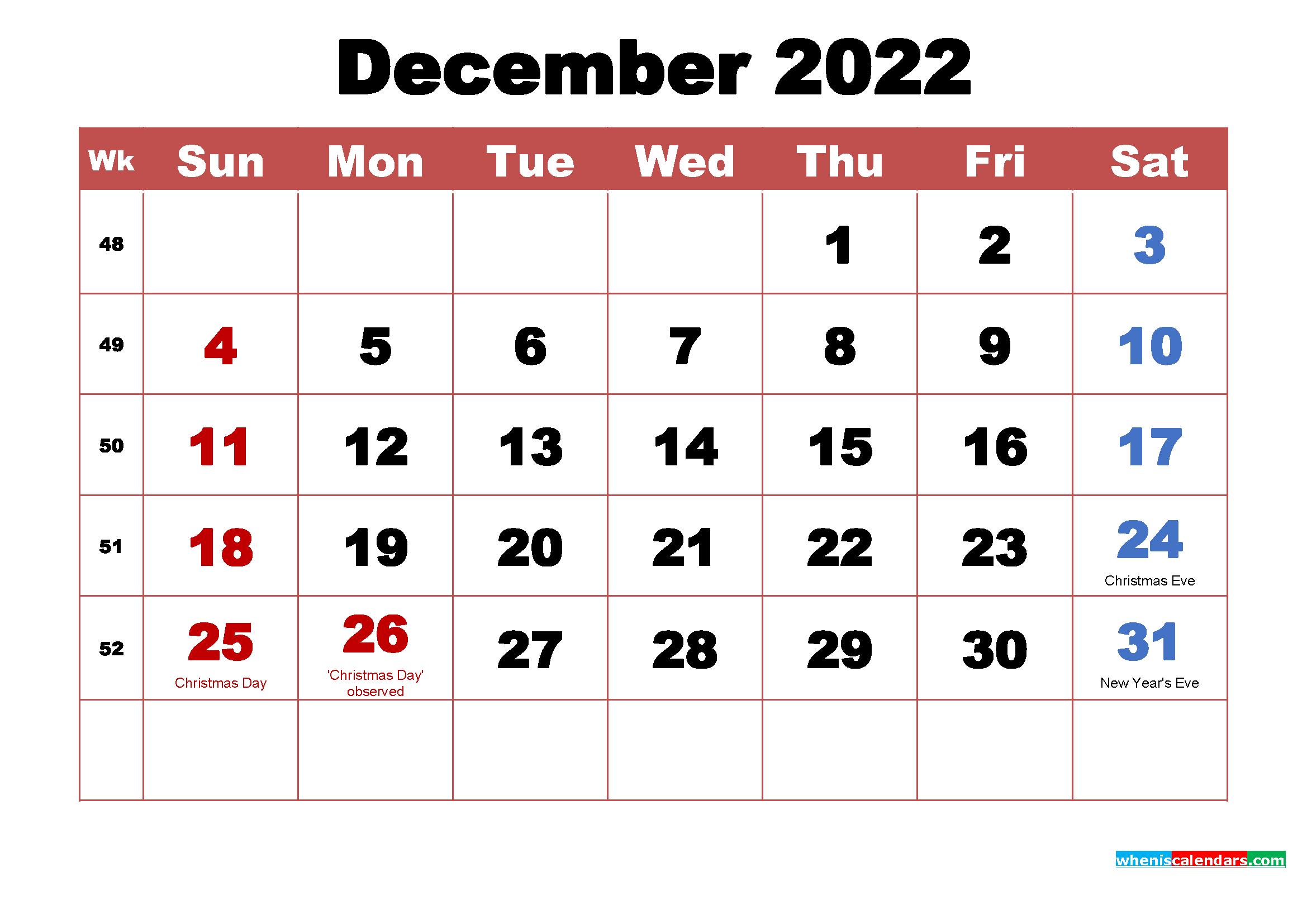 Printable December 2022 Calendar With Holidays Word Pdf Free Printable 2021 Monthly Calendar With Holidays