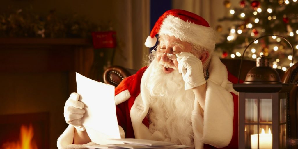 Merry Christmas Jolly Father Christmas Reading Letters From Royalty