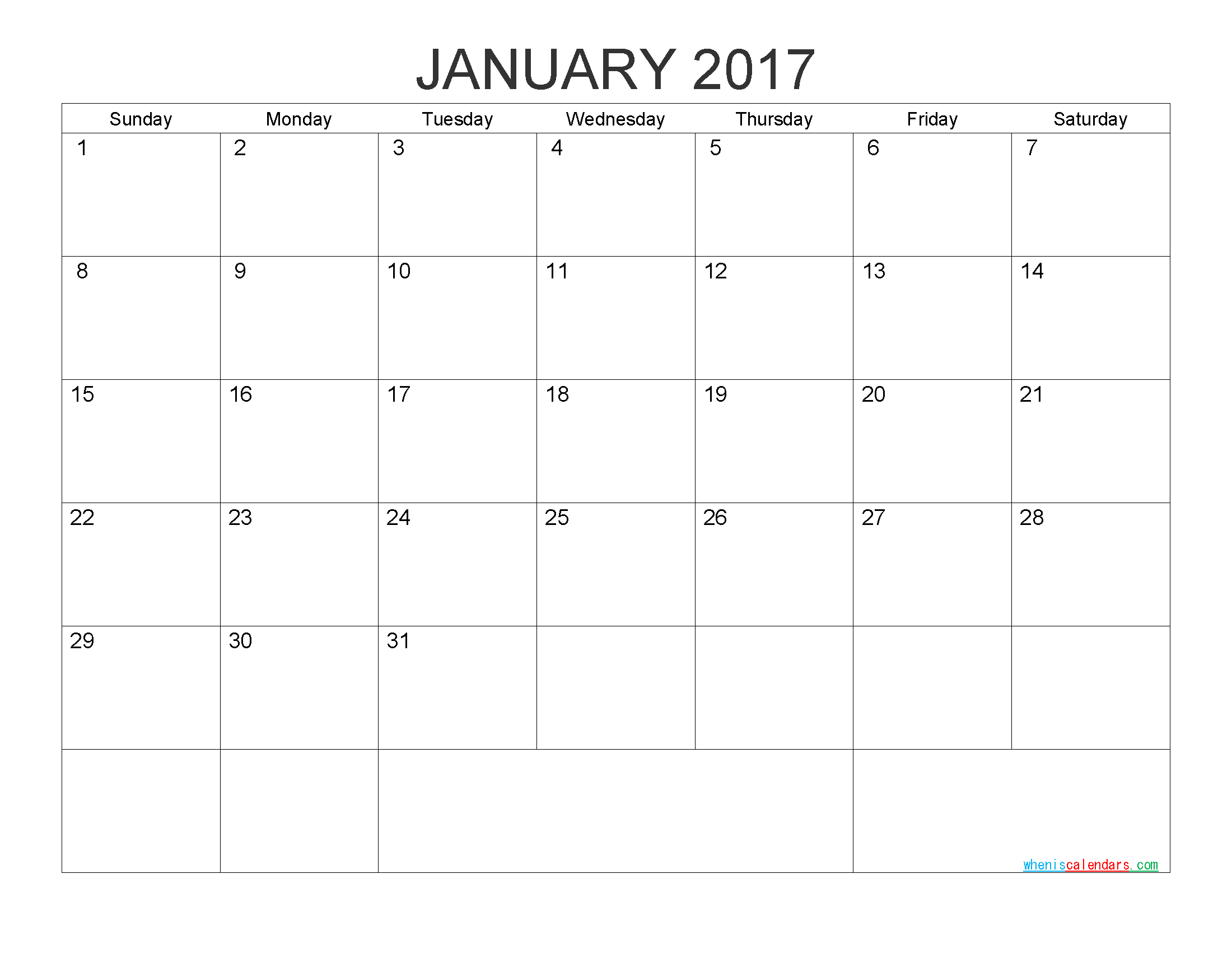 Free Printable Calendar January 2017 Monthly Calendar Template by PDF, Image