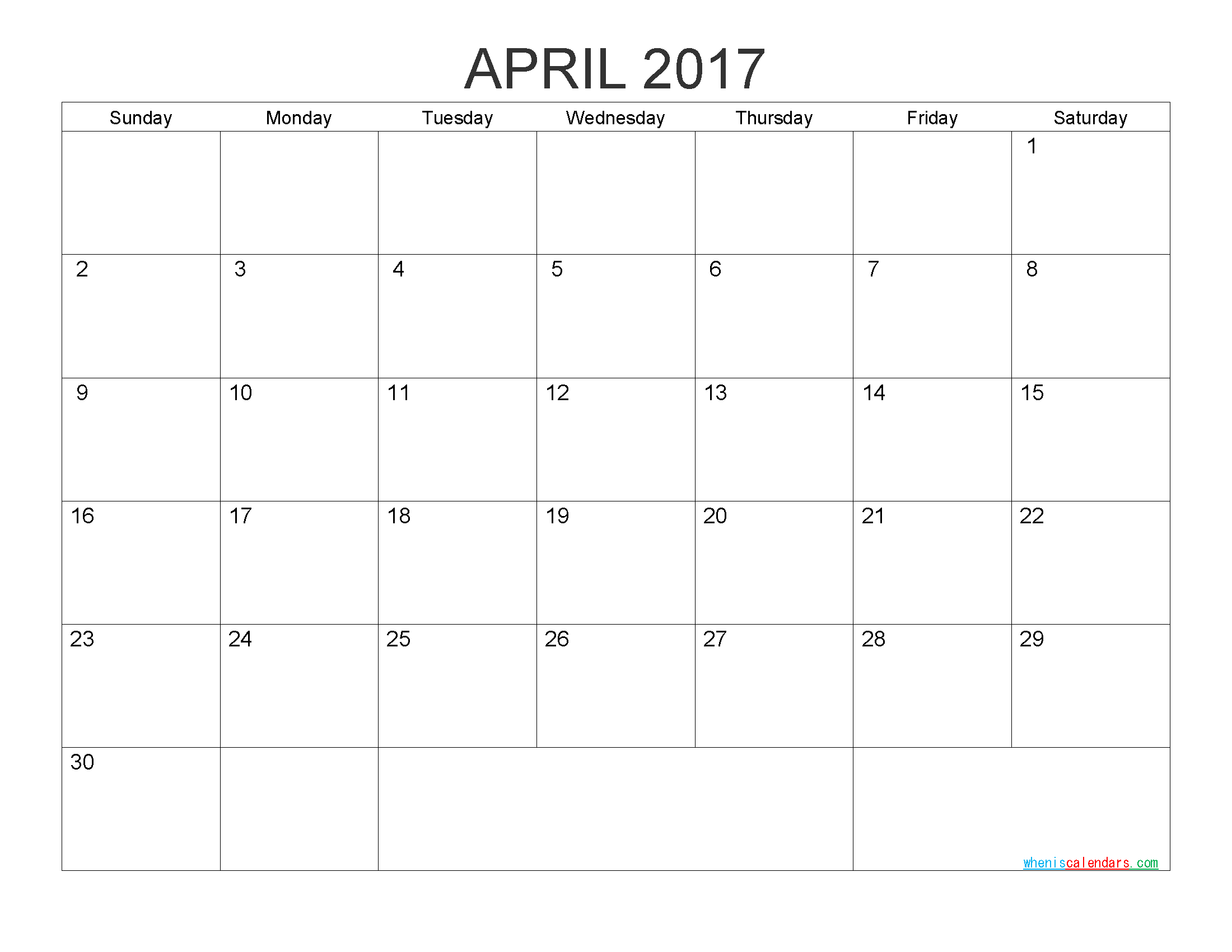 Free Printable Calendar April 2017 Monthly Calendar Template by PDF, Image