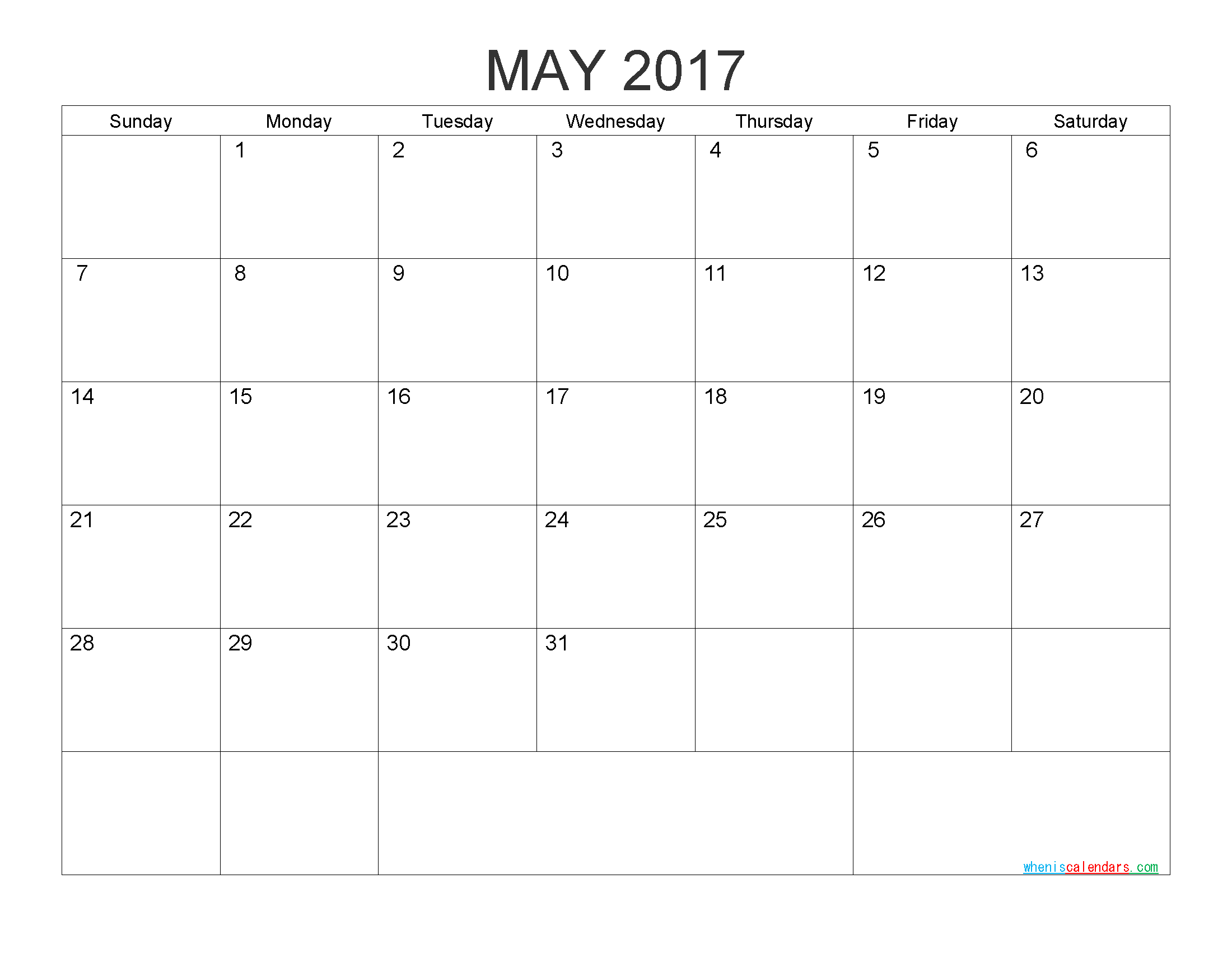 Free Printable Calendar May 2017 Monthly Calendar Template by PDF, Image