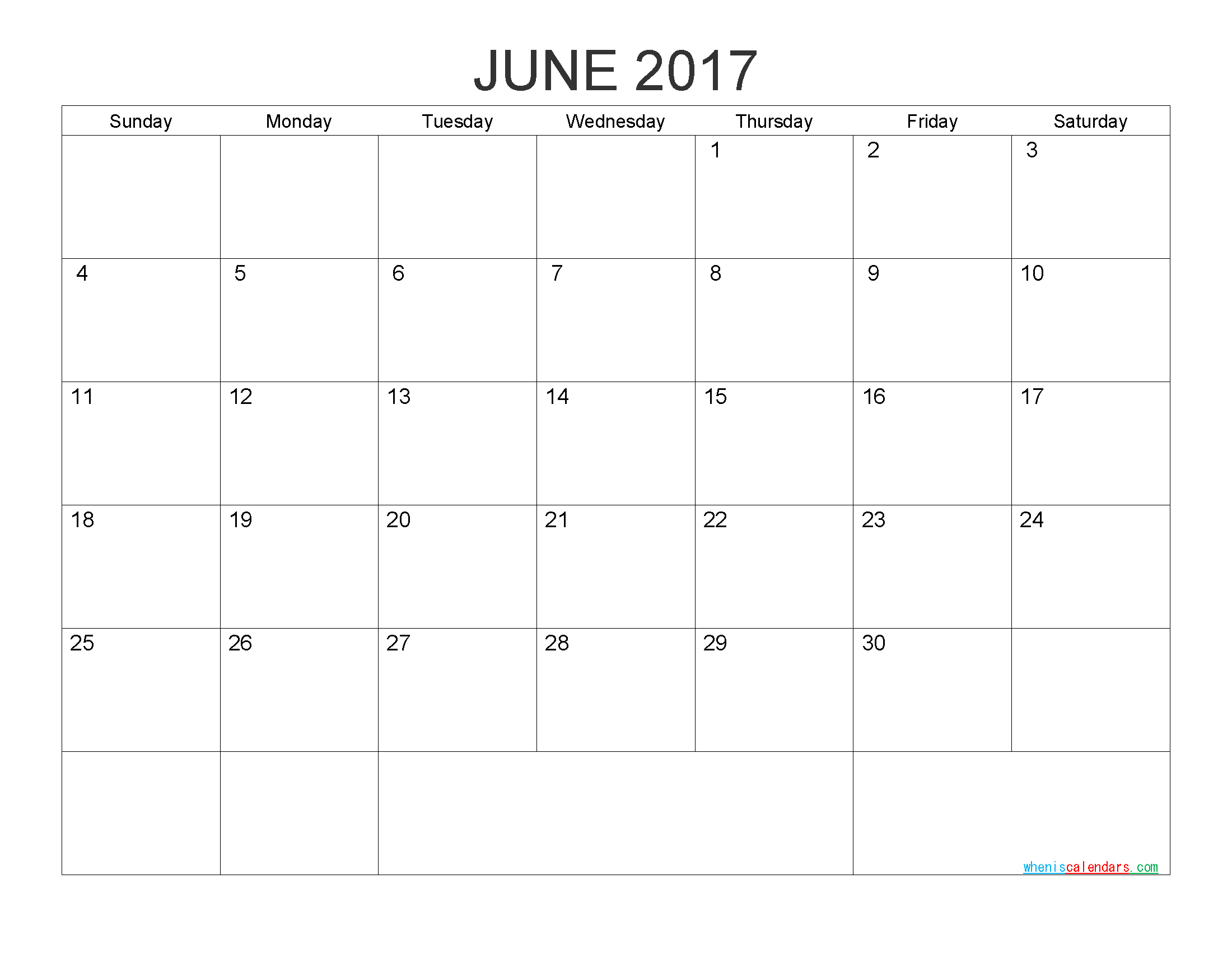 Free Printable Calendar June 2017 Monthly Calendar Template by PDF, Image