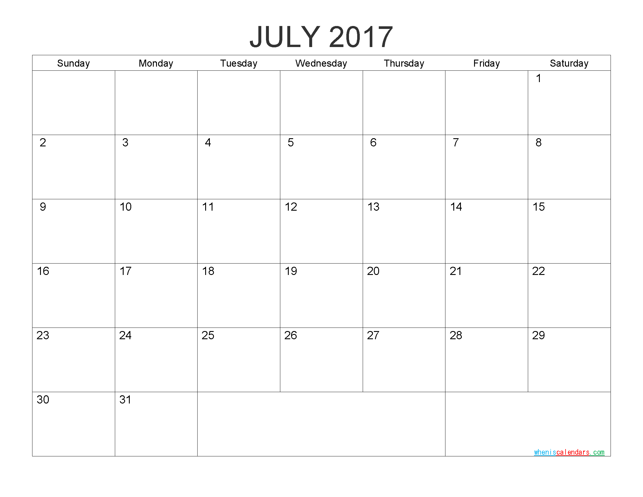 Free Printable Calendar July 2017 Monthly Calendar Template by PDF, Image