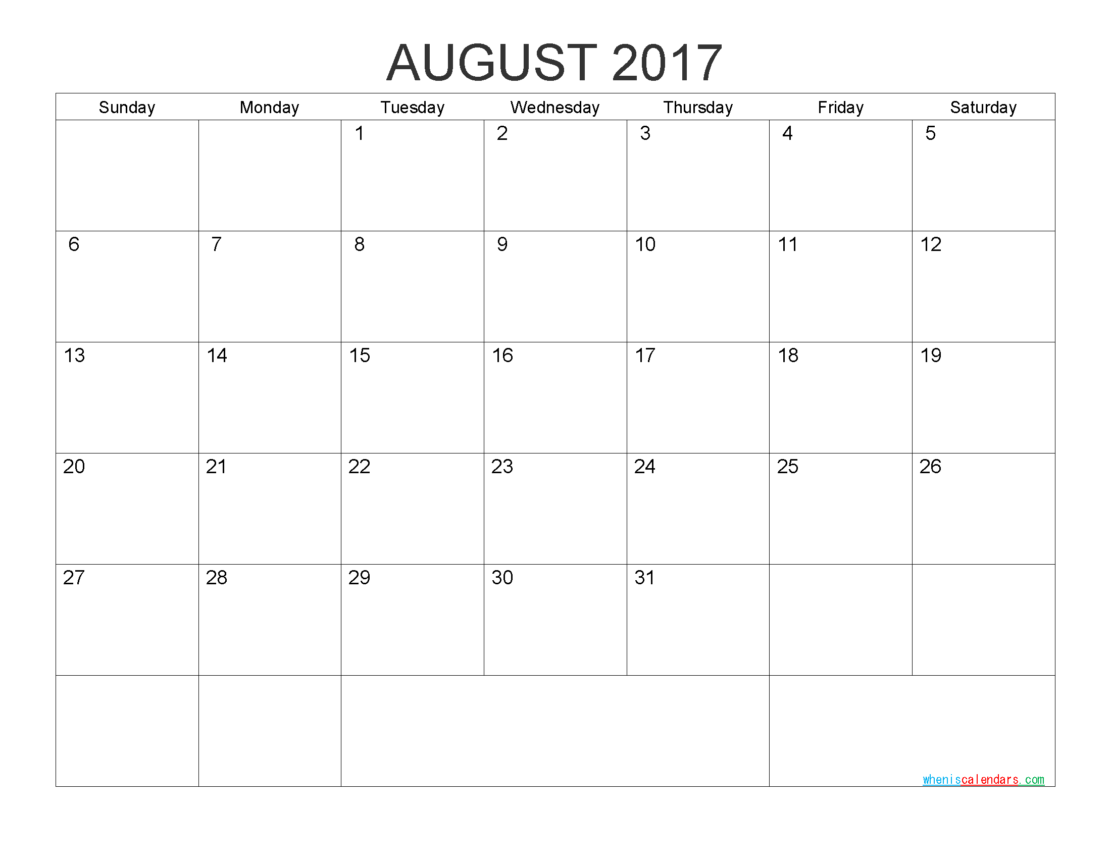 Free Printable Calendar August 2017 Monthly Calendar Template by PDF, Image