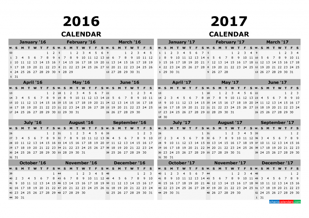 printable calendar 2016 2017 in 1 page