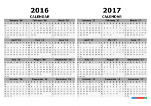 Free Printable Calendar 2016 2017 by PDF and Image