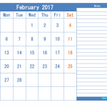 Printable Calendar 2017 February as PDF and Image