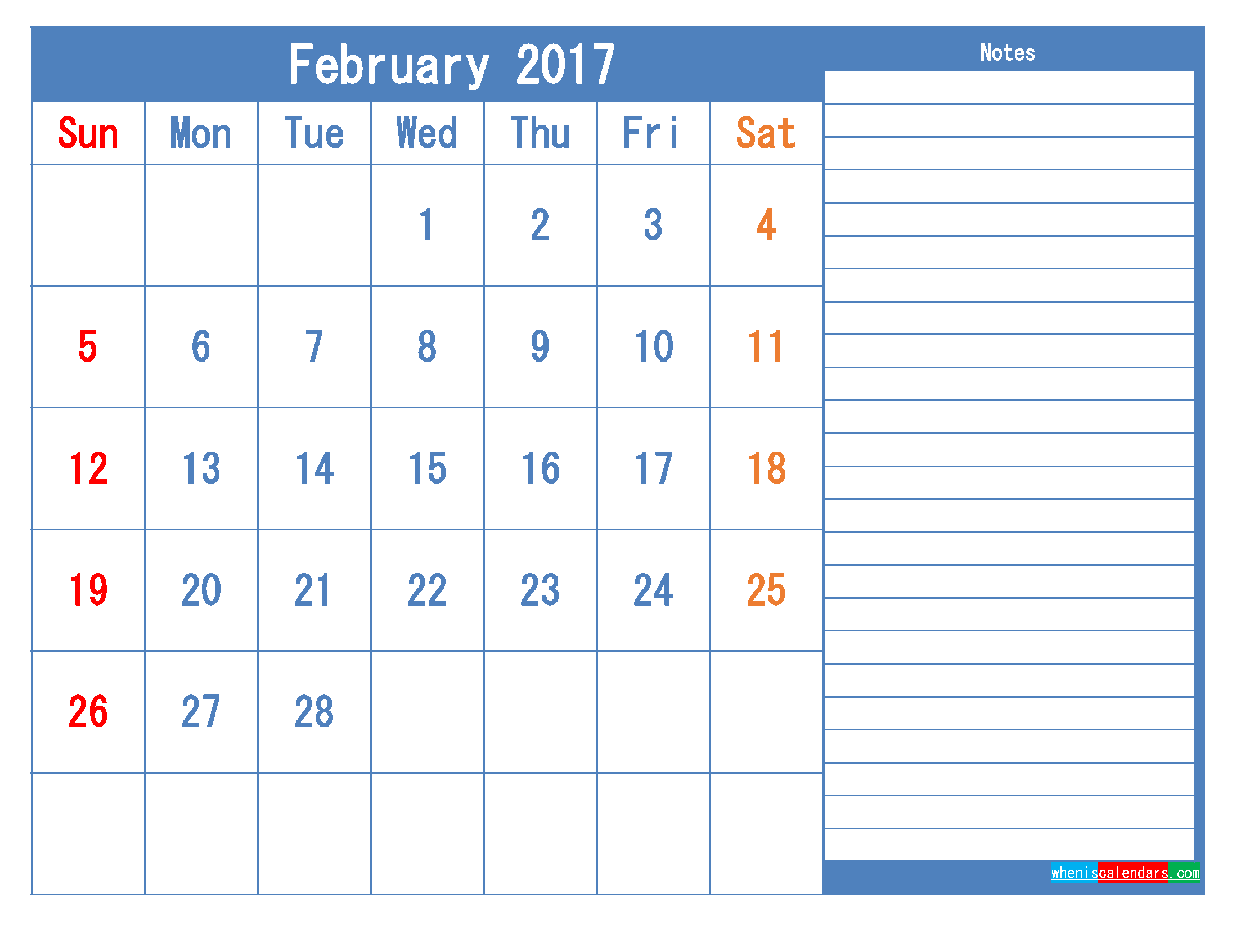 Printable Calendar 2017 February Monthly Calendar Template as PDF