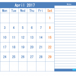 Printable Calendar 2017 April as PDF and Image