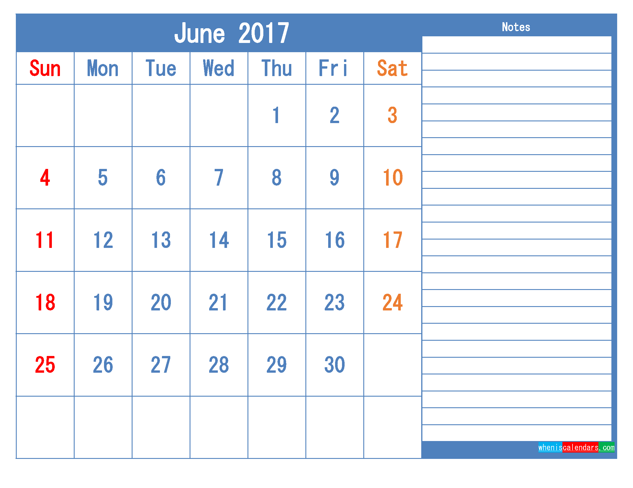 Printable Calendar 2017 June Monthly Calendar Template as PDF
