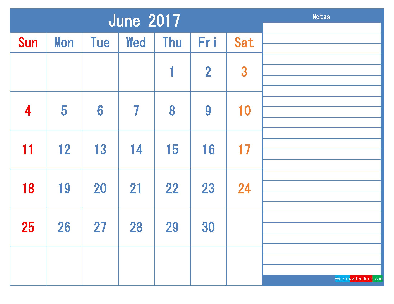 Printable Calendar 2017 June Monthly Calendar Template as PDF