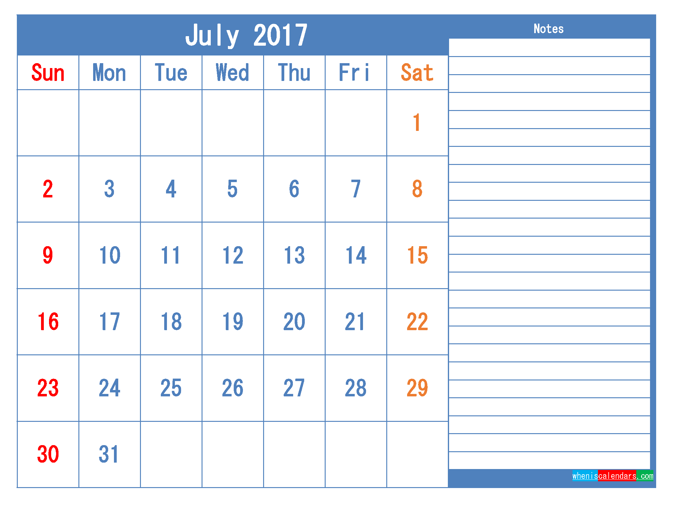 Printable Calendar 2017 July Monthly Calendar Template as PDF