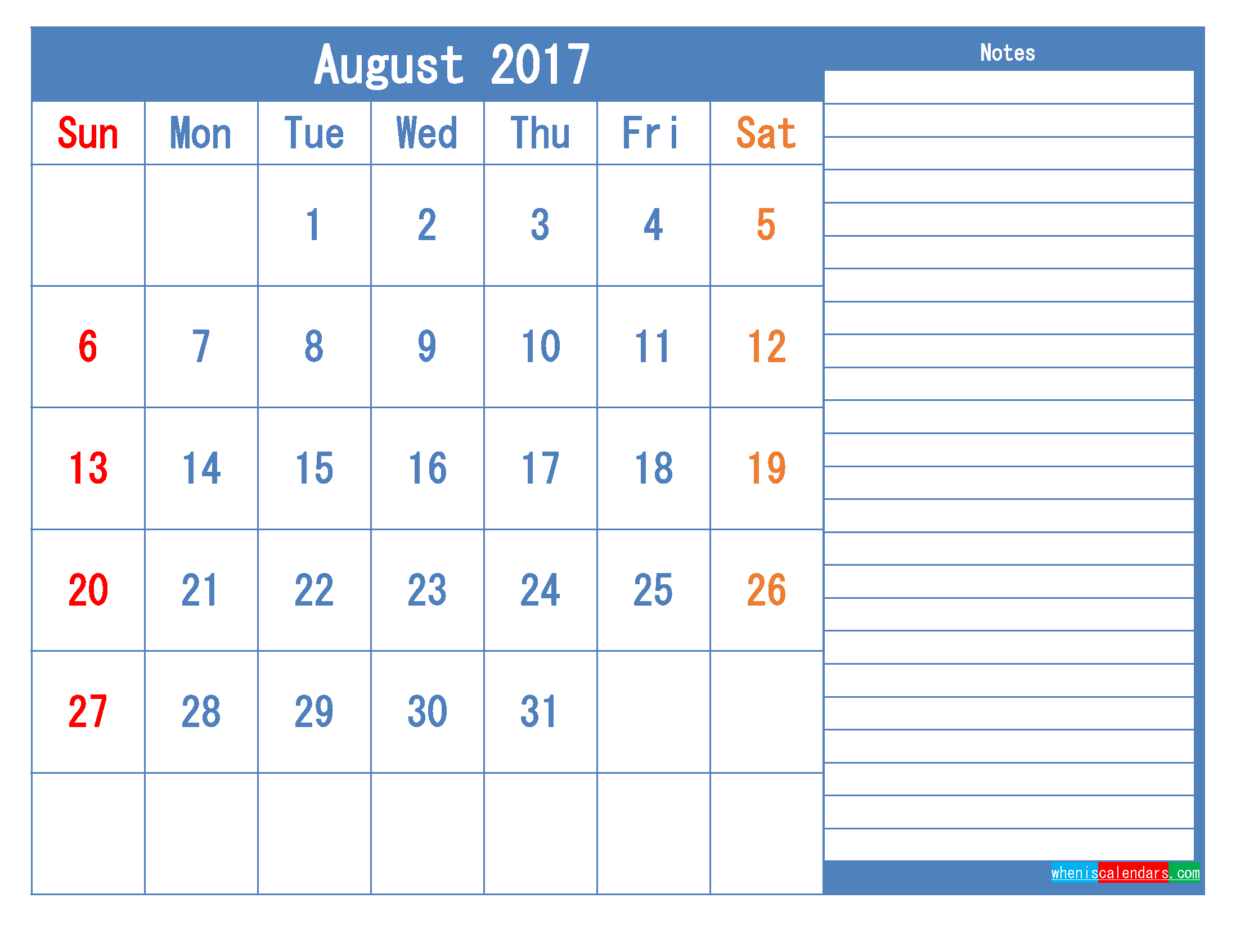 Printable Calendar 2017 August Monthly Calendar Template as PDF