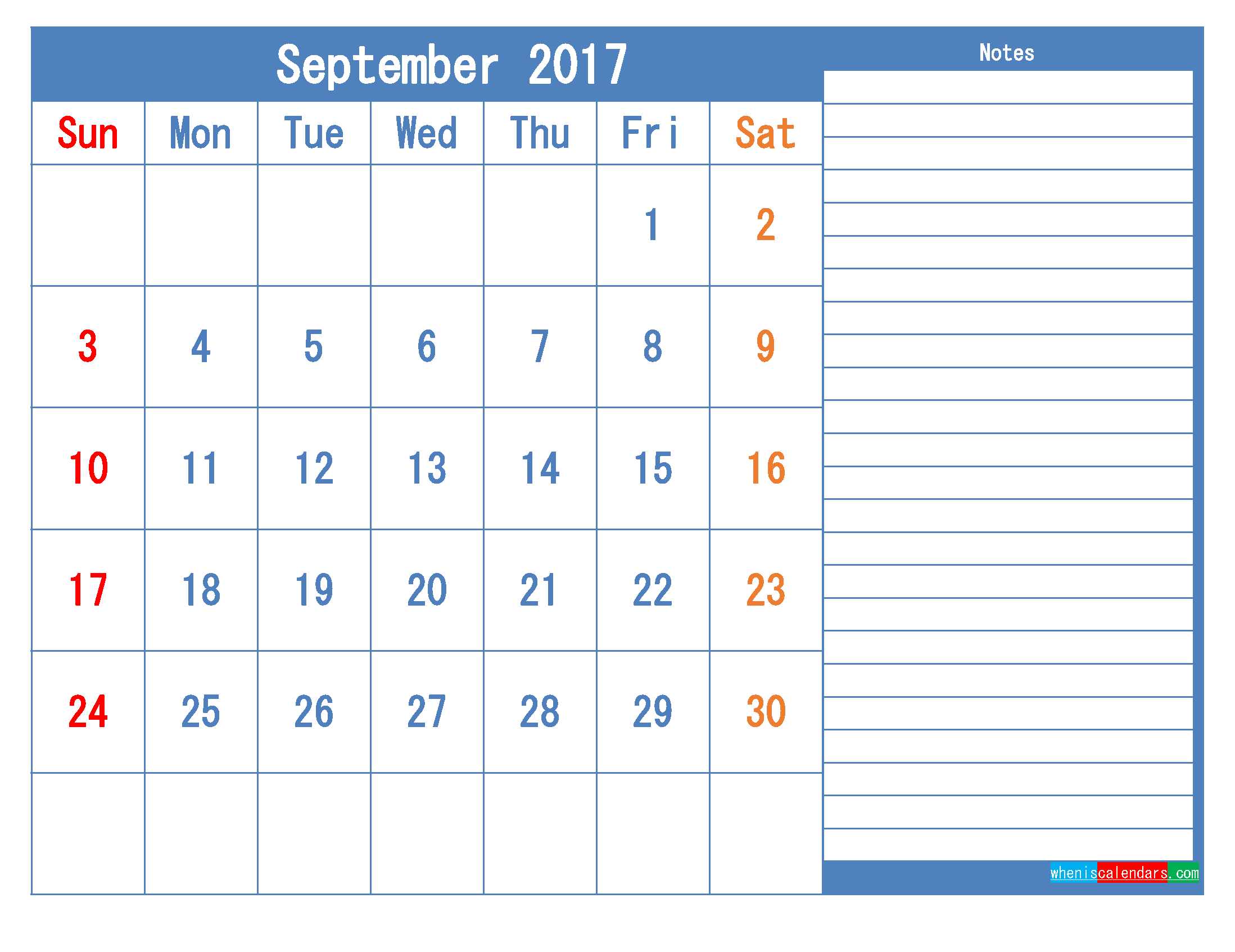 Printable Calendar 2017 September Monthly Calendar Template as PDF