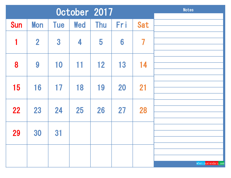 Printable Calendar 2017 October Monthly Calendar Template as PDF