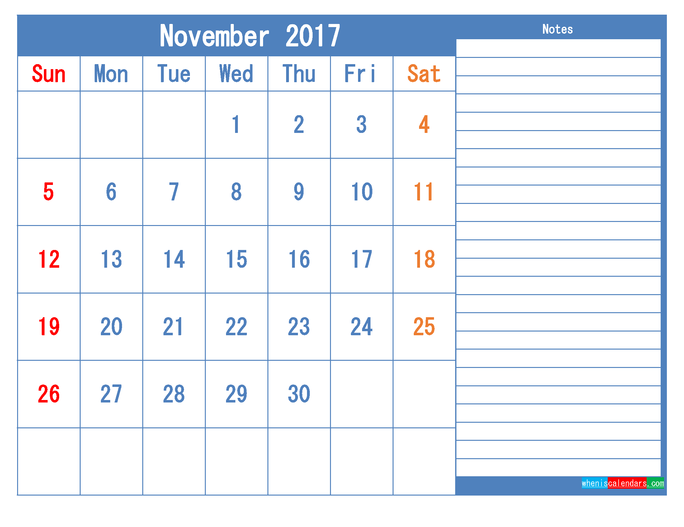 Printable Calendar 2017 November Monthly Calendar Template as PDF