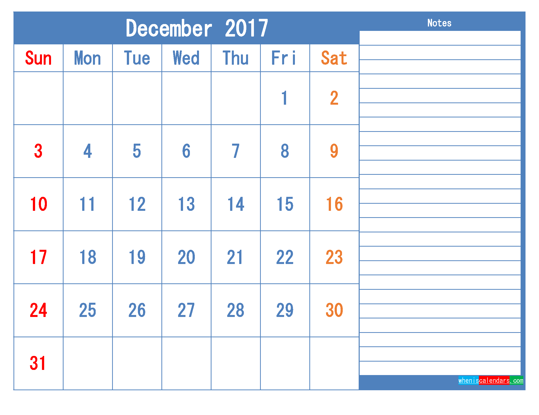 Printable Calendar 2017 December Monthly Calendar Template as PDF