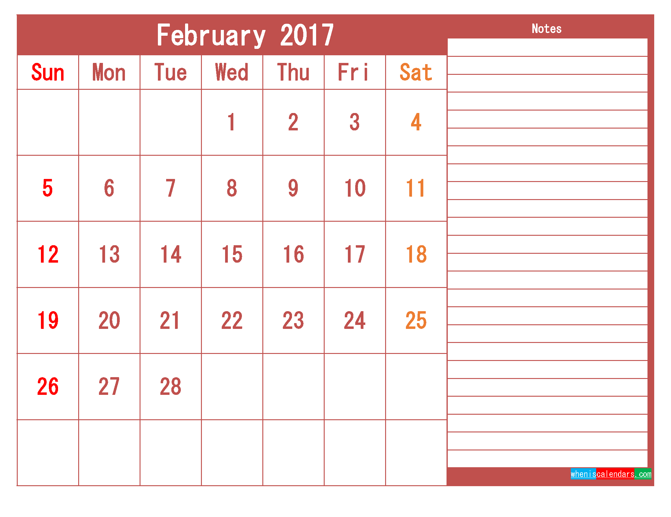 Free Download February 2017 Printable Calendar Template PDF