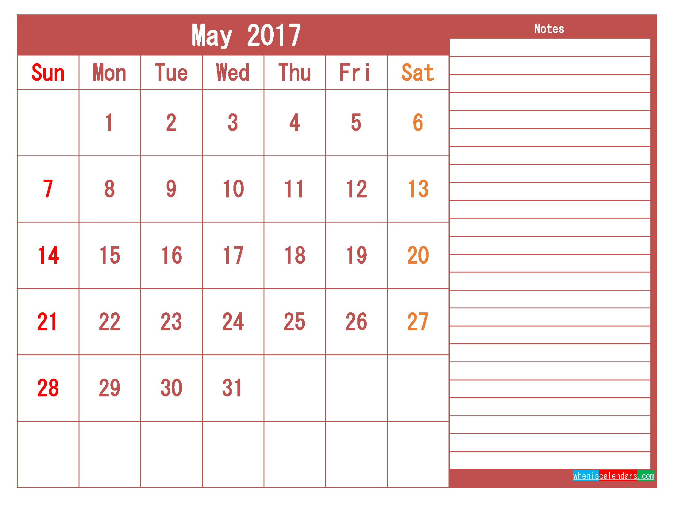 Free Download May 2017 Printable Calendar Template PDF