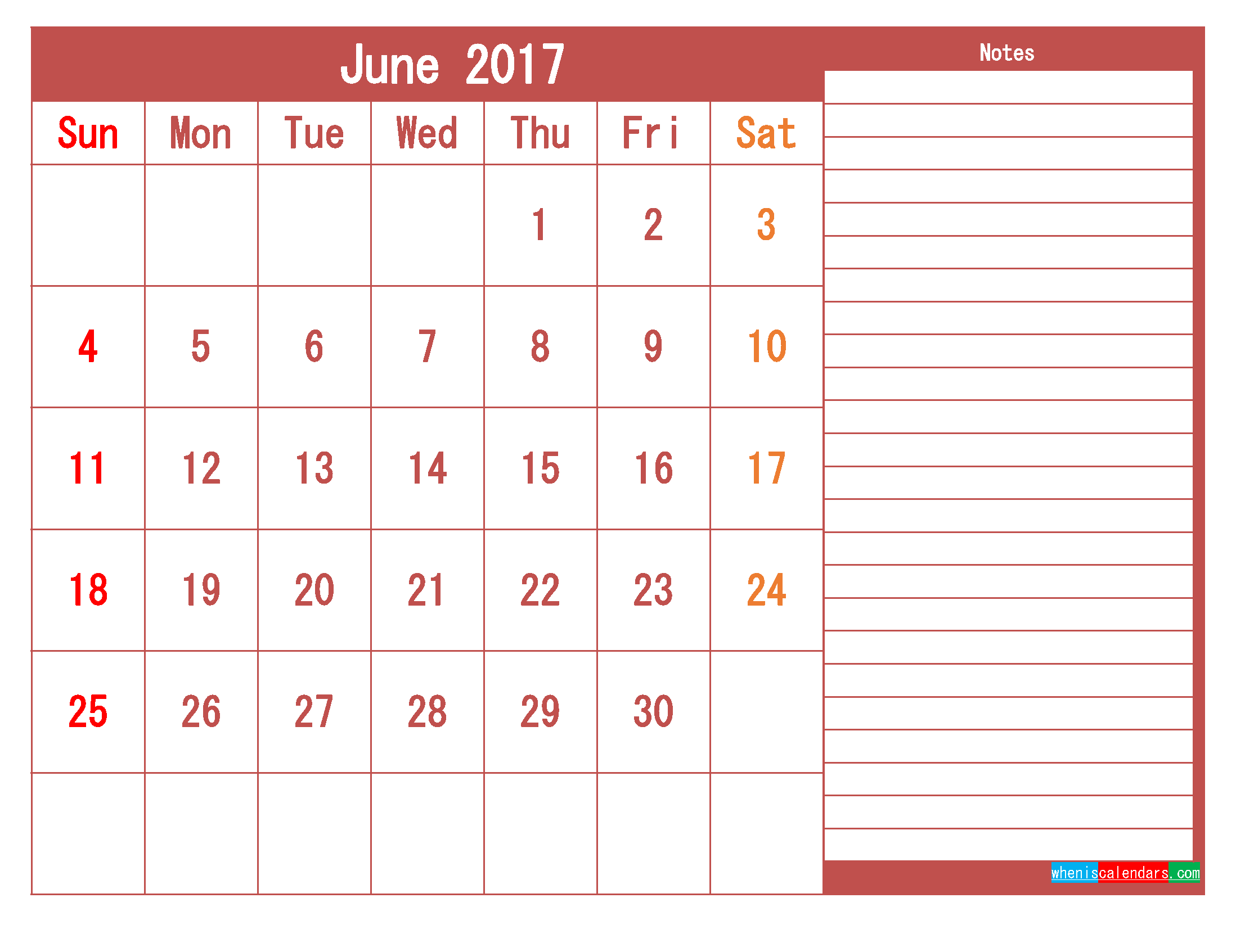 Free Download June 2017 Printable Calendar Template PDF