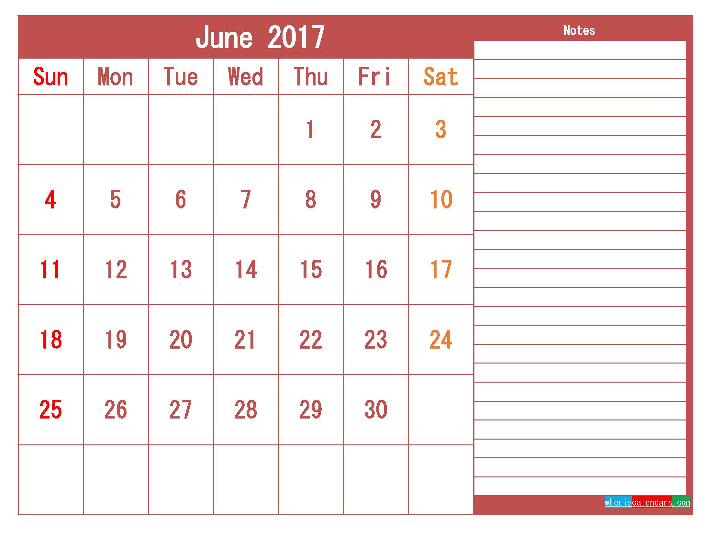 Free Download June 2017 Printable Calendar Template PDF