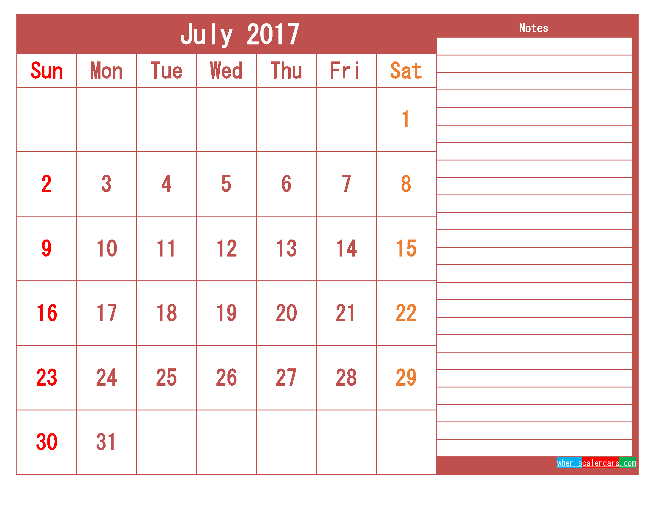 Free Download July 2017 Printable Calendar Template PDF