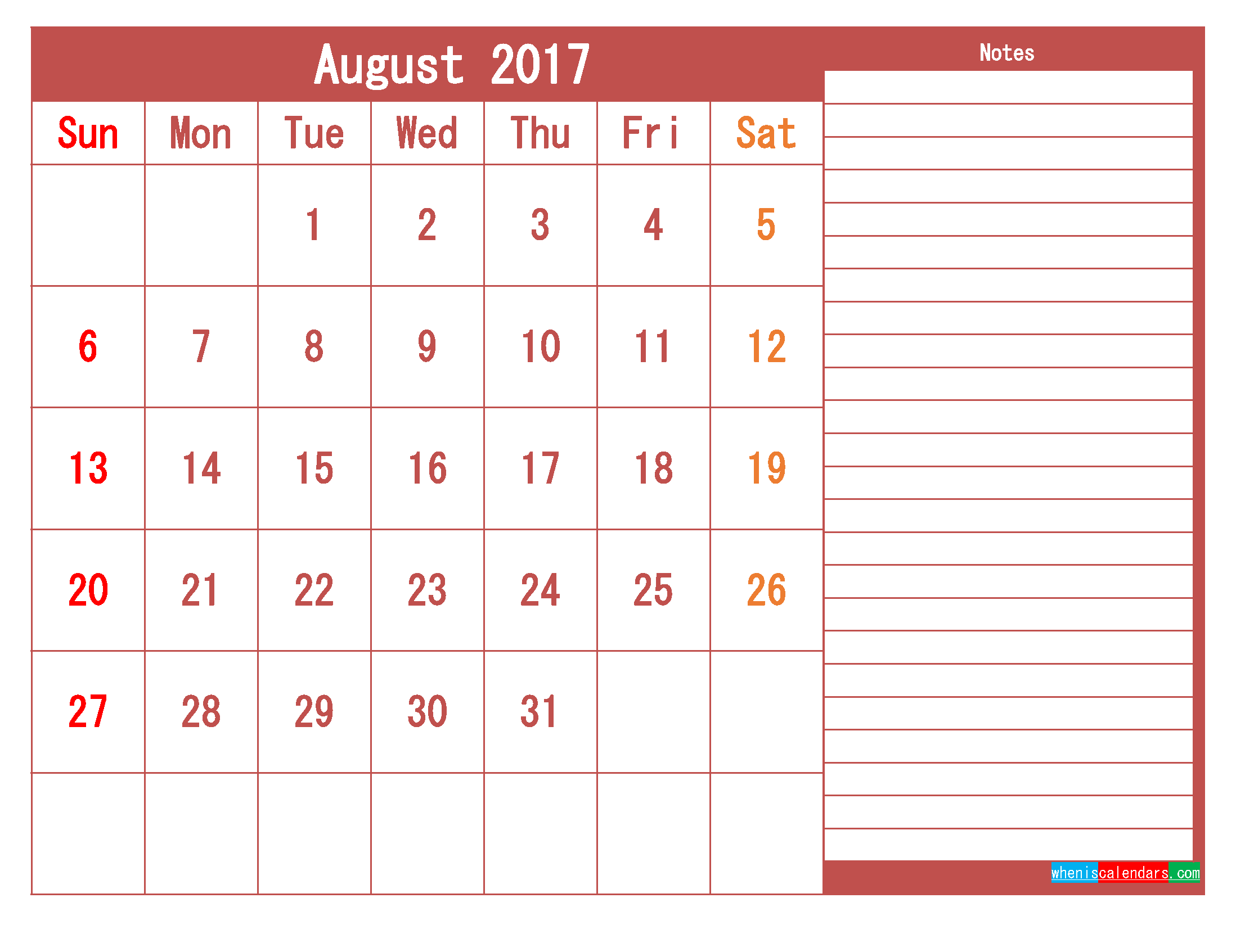 Free Download August 2017 Printable Calendar Template PDF