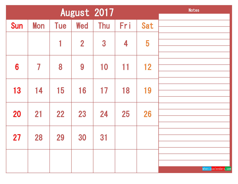 Free Download August 2017 Printable Calendar Template PDF