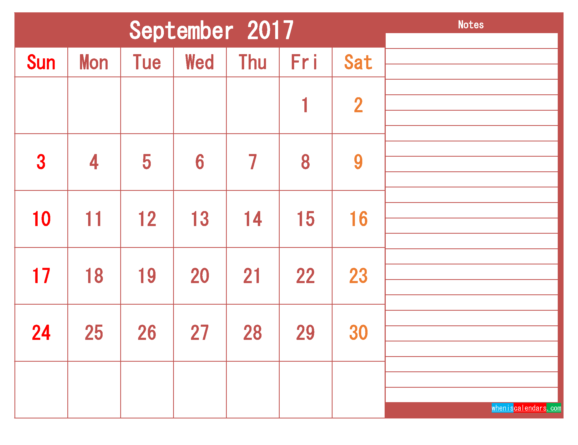Free Download September 2017 Printable Calendar Template PDF