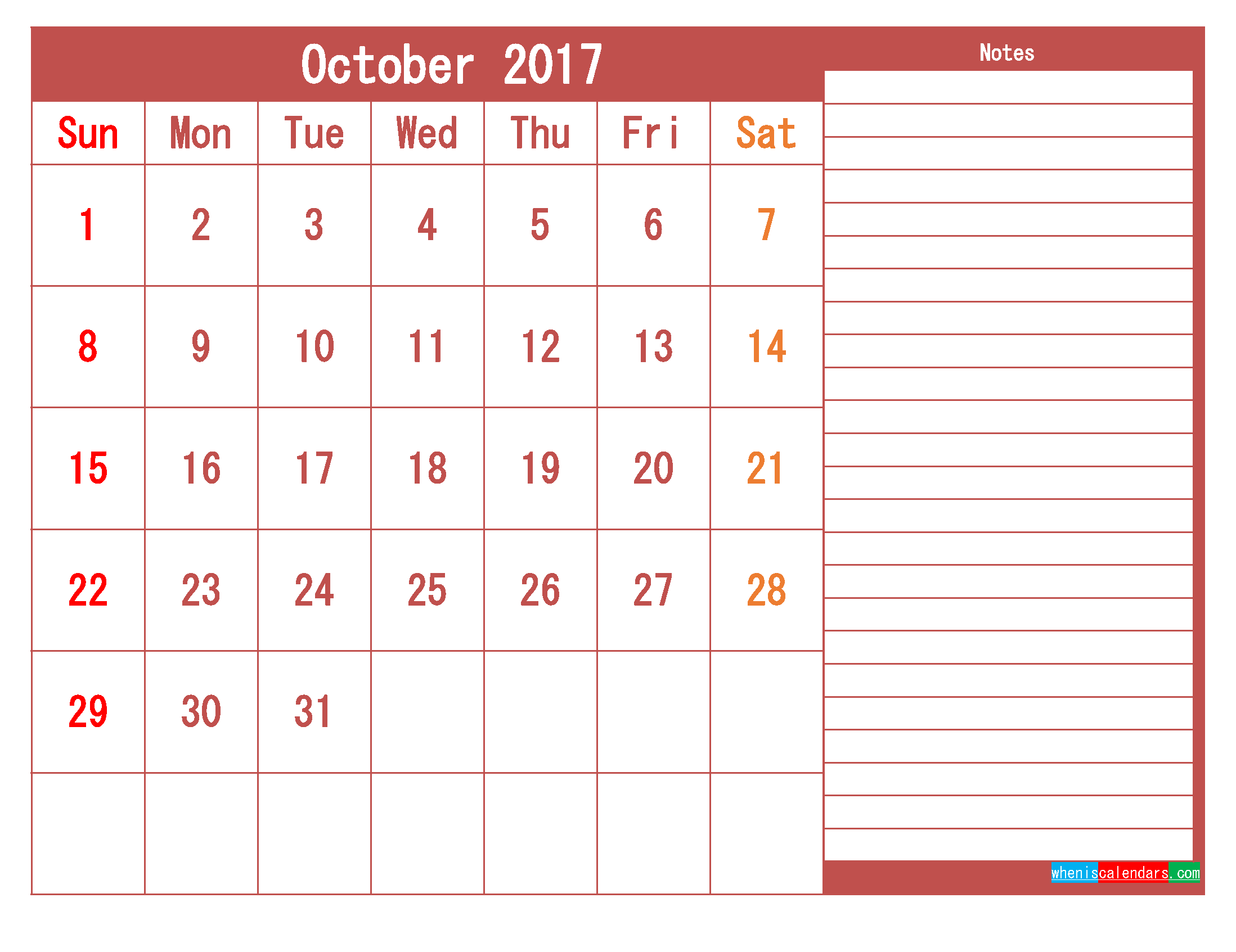 Free Download October 2017 Printable Calendar Template PDF
