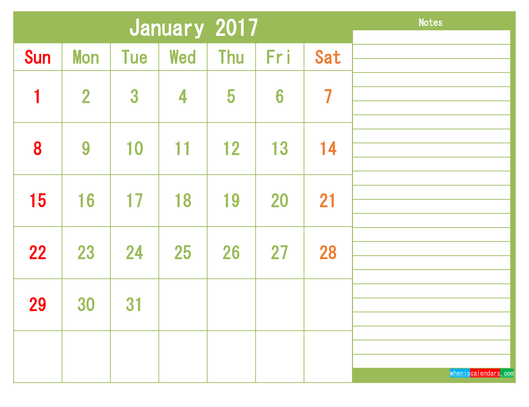 Free January 2017 Printable Calendar Template Monthly Calendar