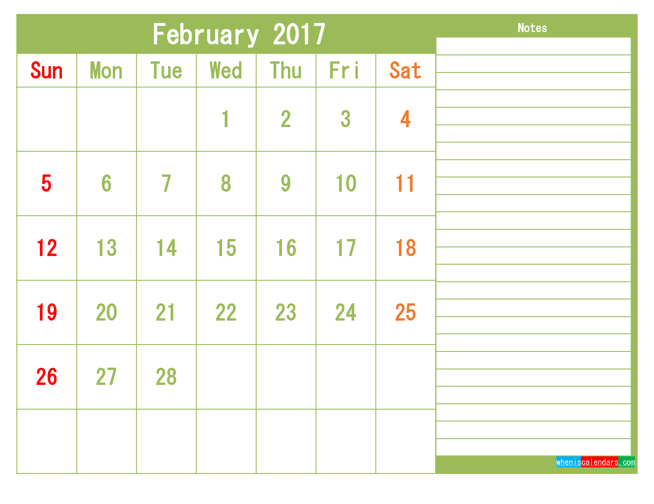 Free February 2017 Printable Calendar Template Monthly Calendar