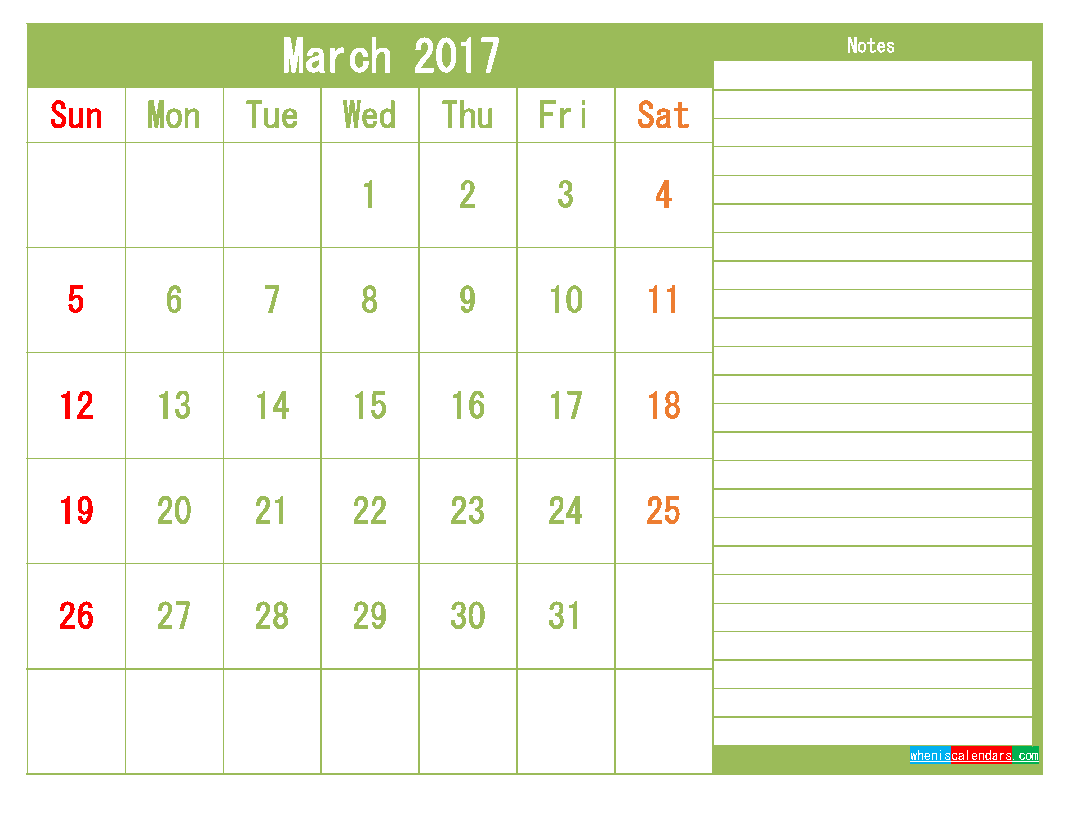 Free March 2017 Printable Calendar Template Monthly Calendar
