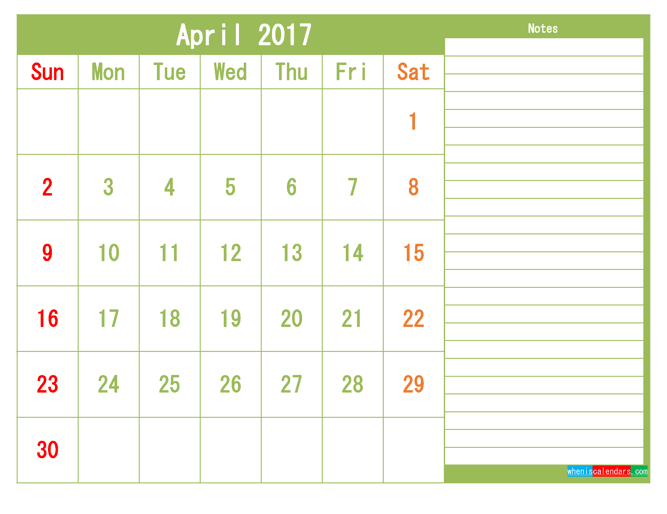 Free April 2017 Printable Calendar Template Monthly