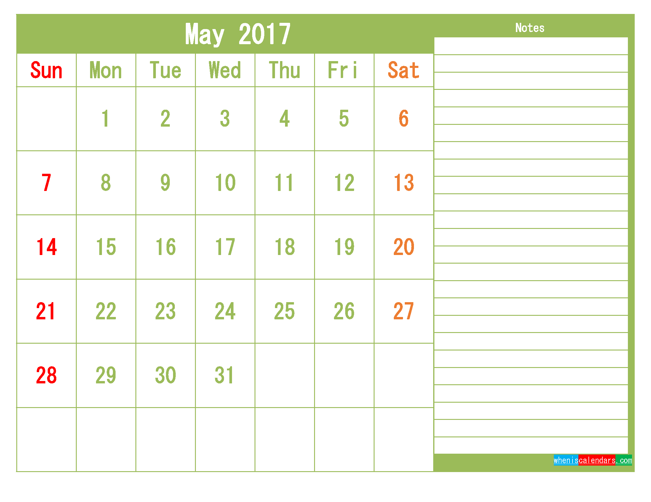 Free May 2017 Printable Calendar Template Monthly Calendar