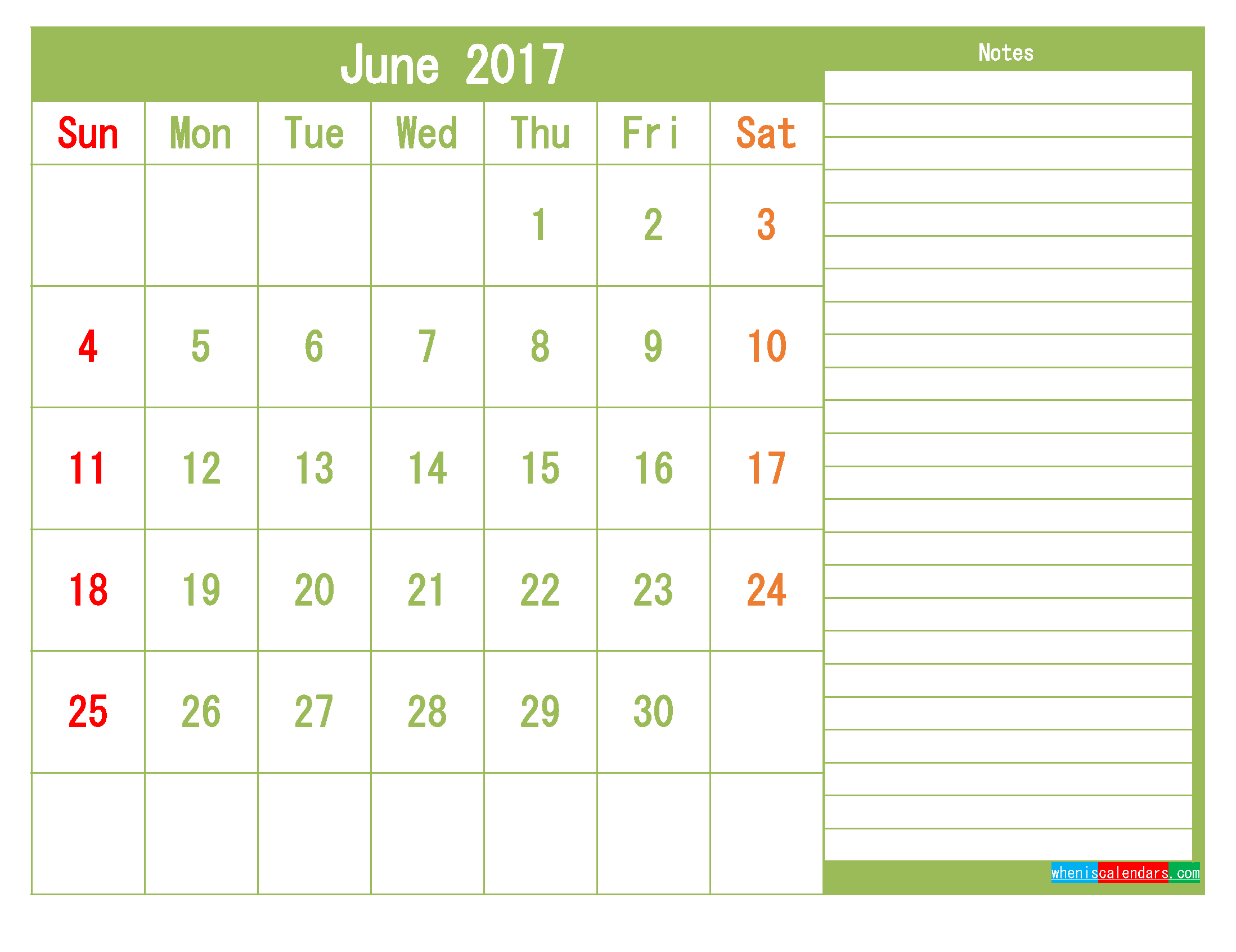 Free June 2017 Printable Calendar Template Monthly Calendar