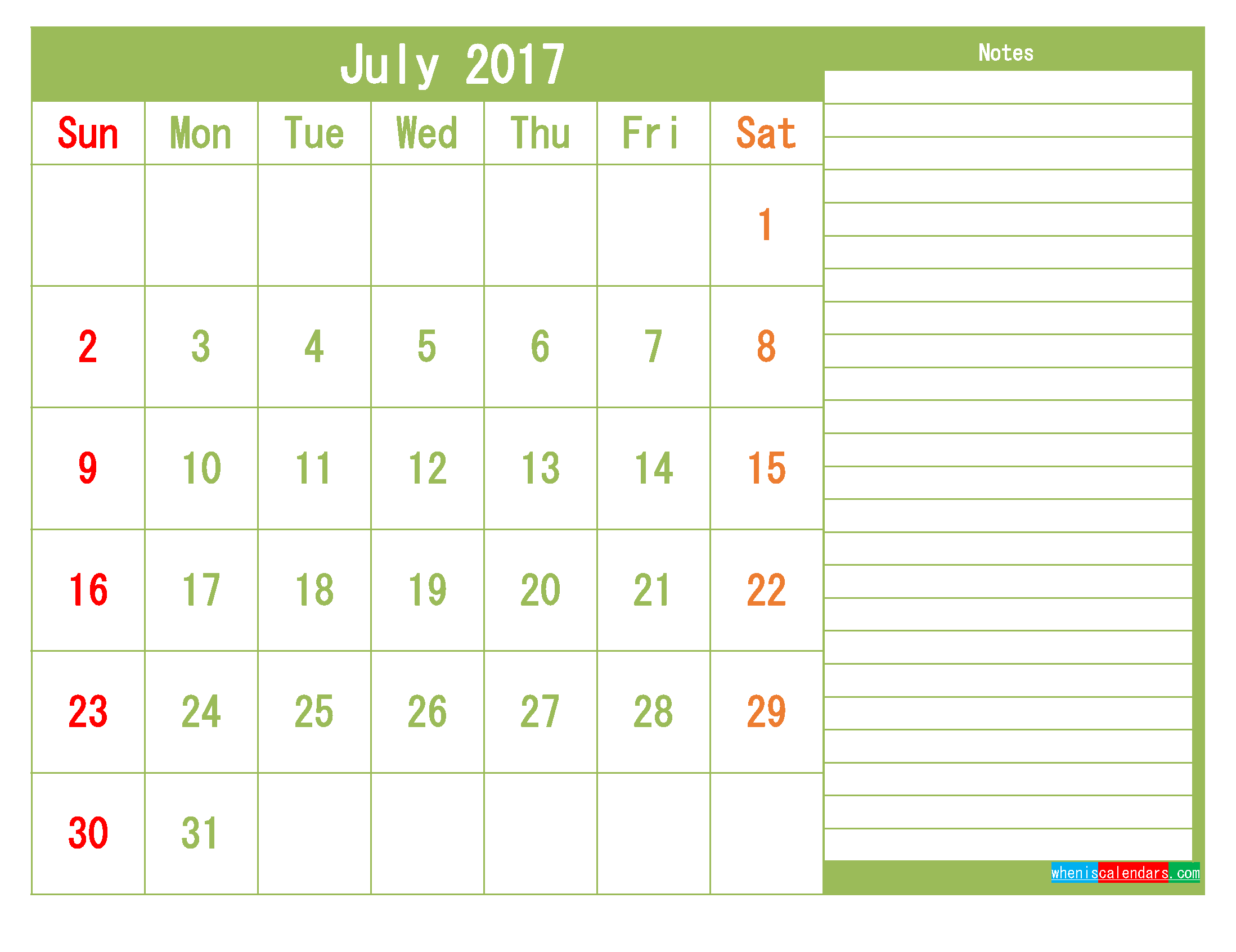 Free July 2017 Printable Calendar Template Monthly Calendar
