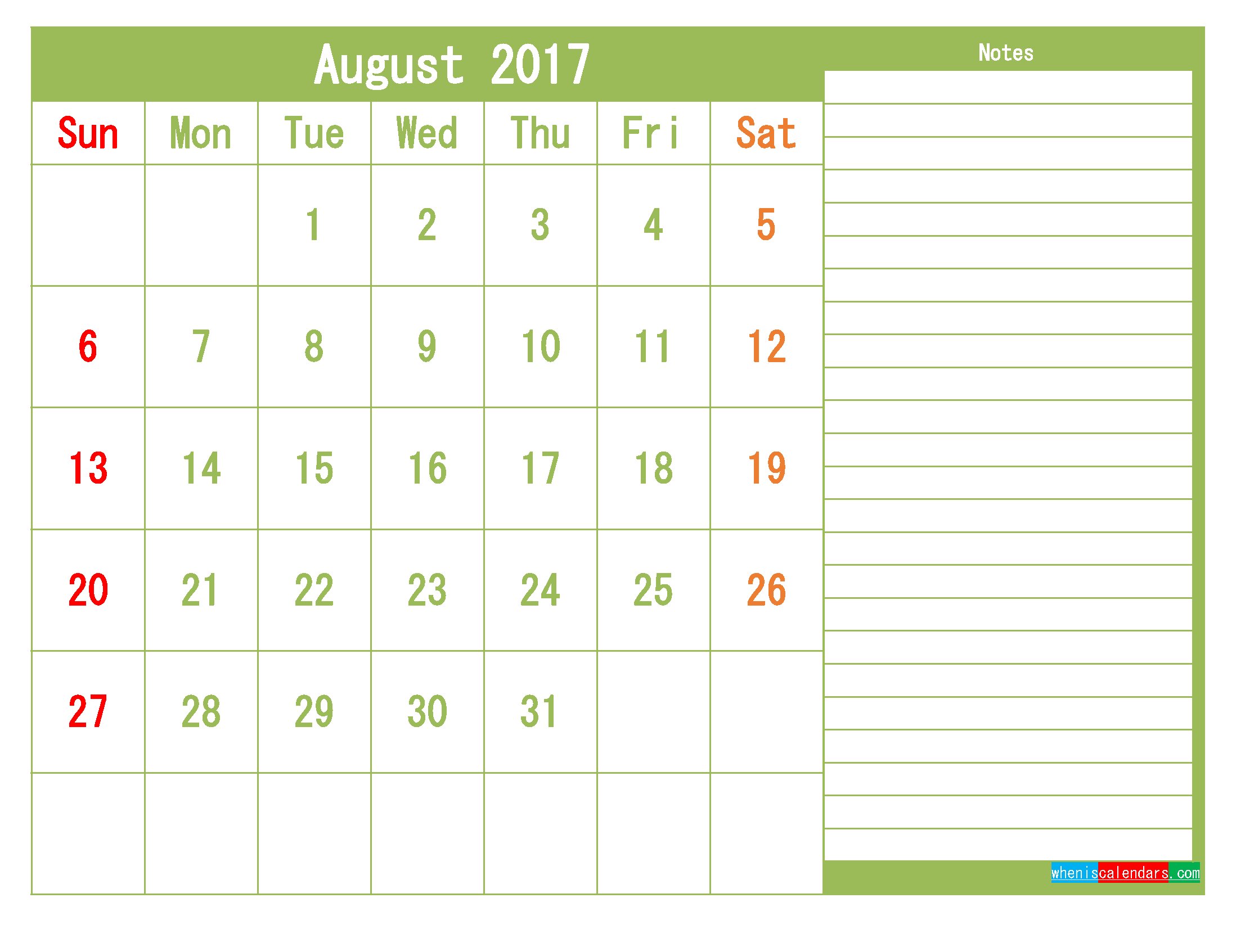Free August 2017 Printable Calendar Template Monthly Calendar