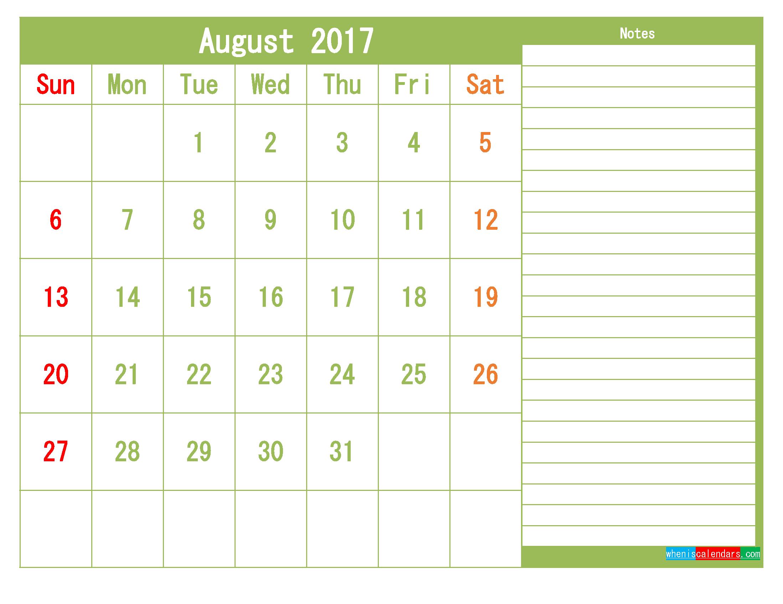 free august 2017 printable calendar template monthly calendar