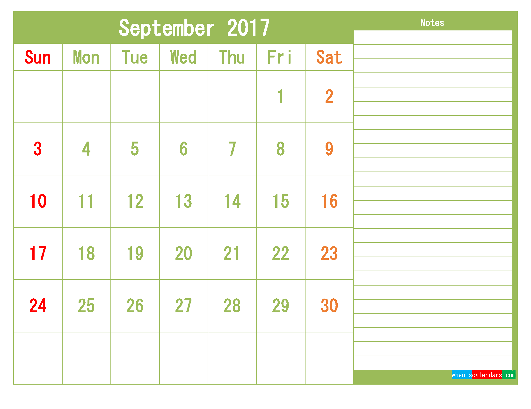 free september 2017 printable calendar template monthly calendar
