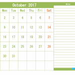 January 2017 Printable Calendar Templates (1 month in 1 page)