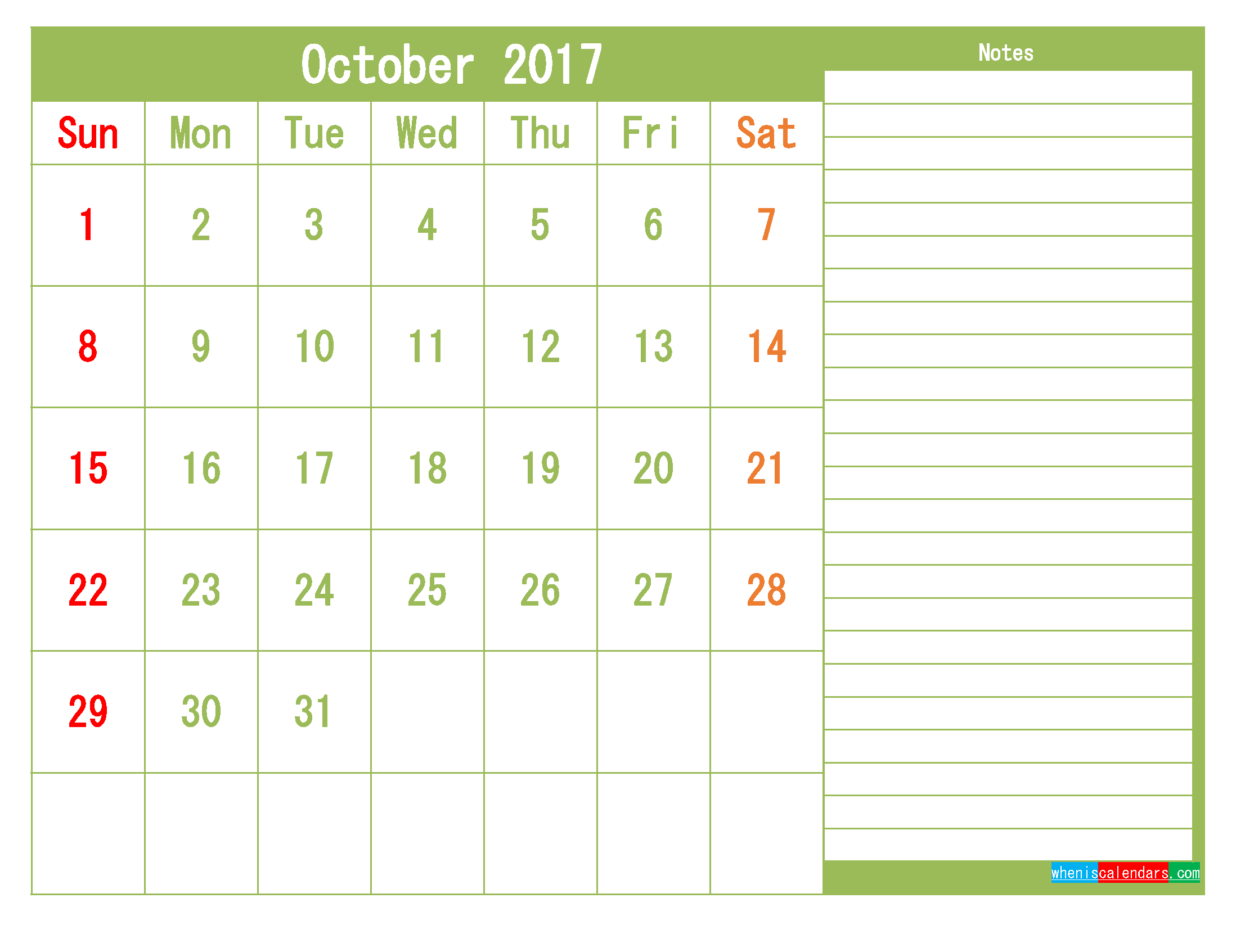 Printable 2017 Calendar Templates October Pdf Png 2018 2019