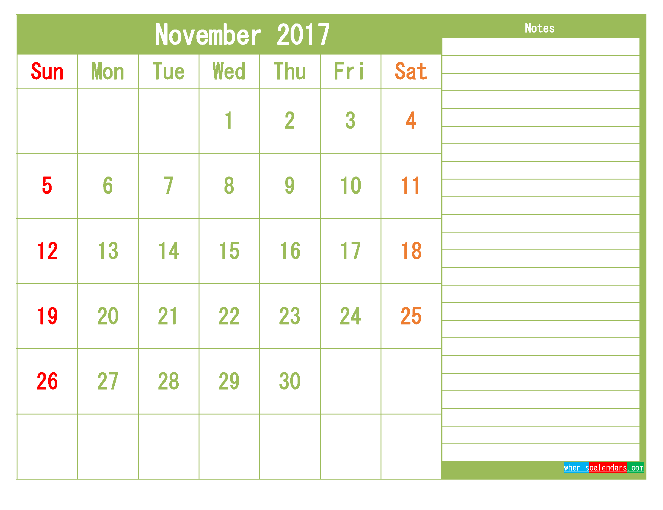 Free November 2017 Printable Calendar Template Monthly Calendar
