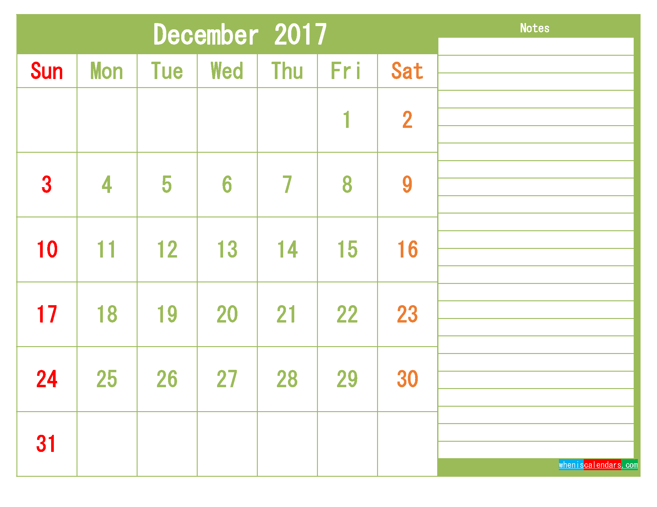 Free December 2017 Printable Calendar Template Monthly Calendar