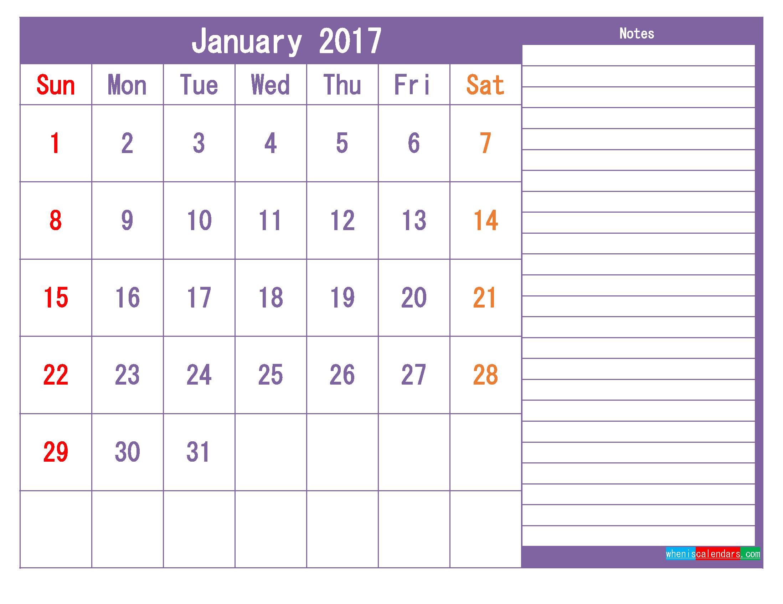 January 2017 Printable Calendar Template as PDF and PNG