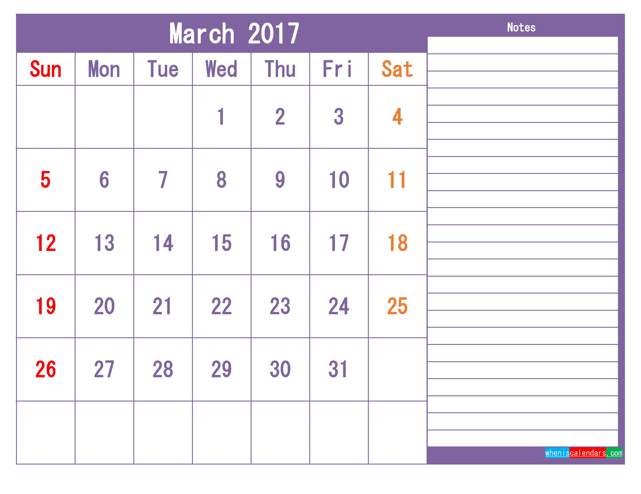 March 2017 Printable Calendar Template as PDF and PNG