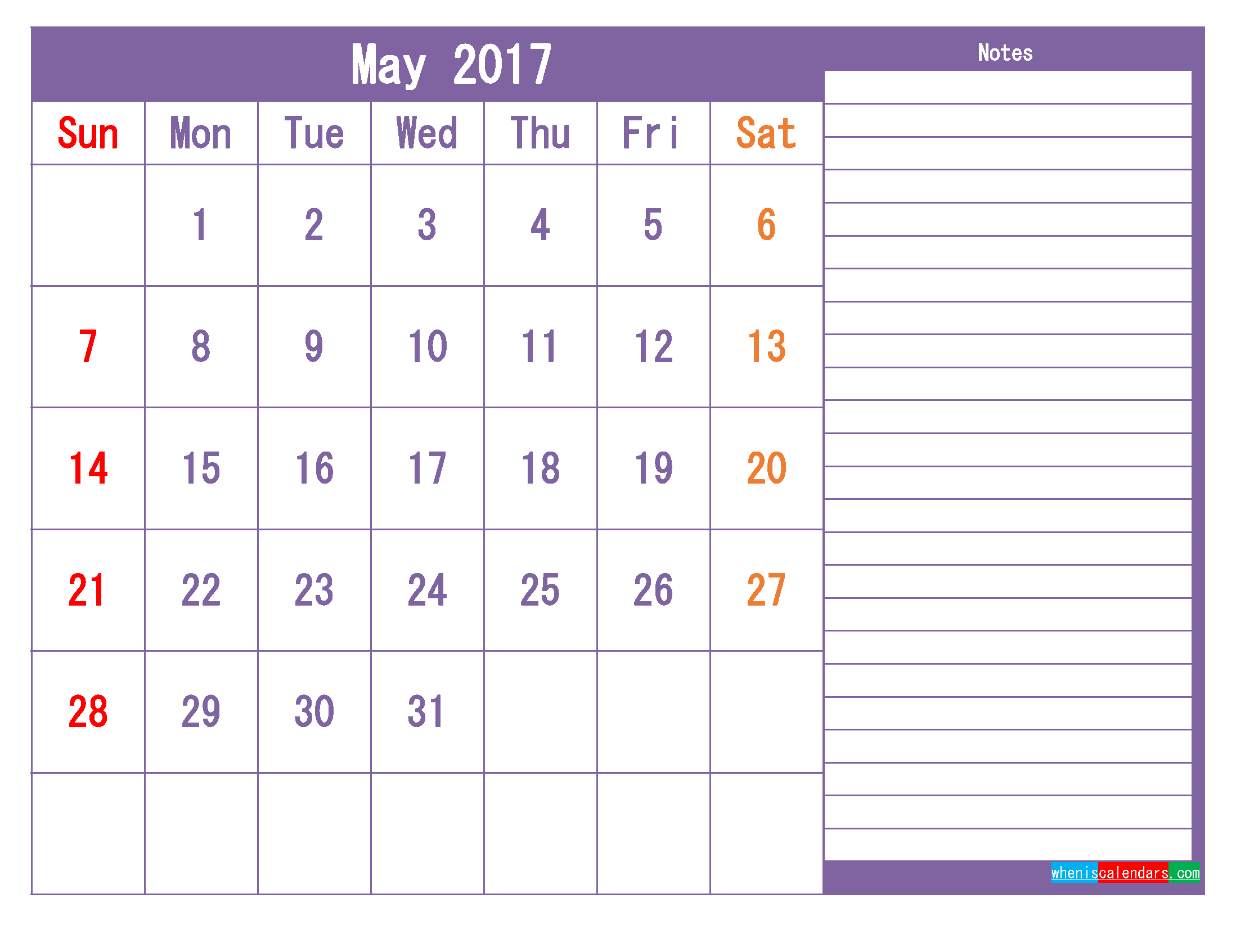 May 2017 Printable Calendar Template as PDF and PNG