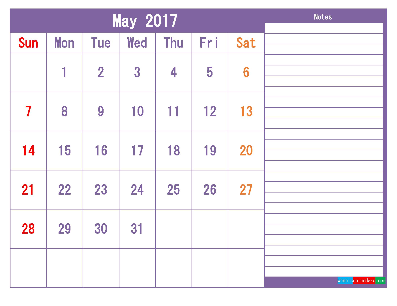 Printable 2017 Calendar Templates May ( PDF, PNG ) | Free Printable