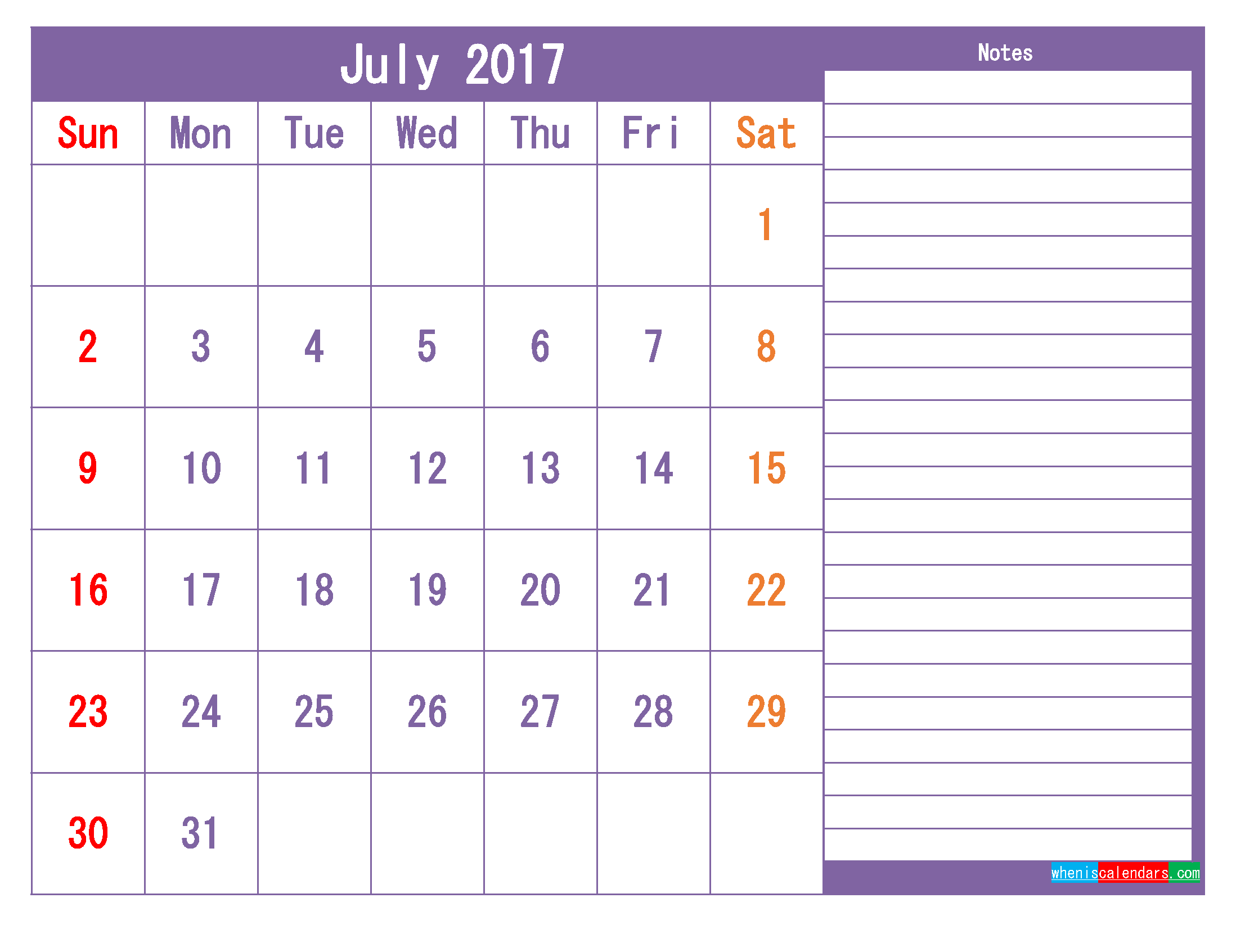 July 2017 Printable Calendar Template as PDF and PNG