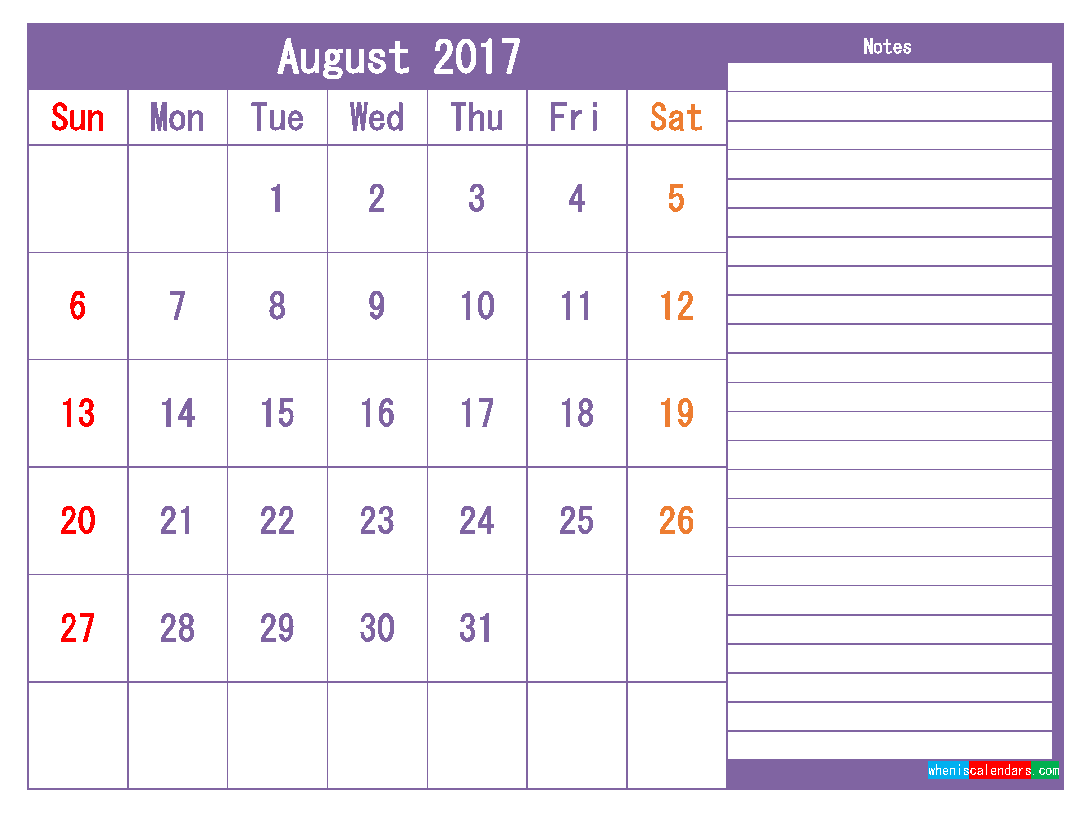 August 2017 Printable Calendar Template as PDF and PNG